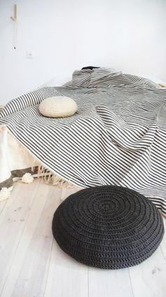 Stripe Cotton Moroccan Blanket - Ecru with Grey stripes / muima*