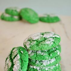 Shamrock Green Crinkle Cookies Recipe Desserts with french vanilla cake mix, butter, eggs, almond extract, color food green, powdered sugar, corn starch