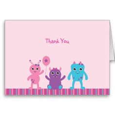 Girl Monster Thank You Cards