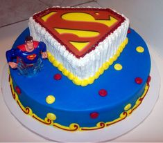 You can choose a cake that only features the Superman logo, or have a make-believe model of the character stand on top of the cake.