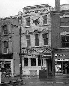 The Green Dragon in St Peter's Street, near the Spot, is pictured in It was demolished in the early Old Pictures, Old Photos, Nottingham Pubs, City Of Derby, Burton On Trent, British Pub, Derby County, London History, Pub Signs