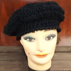 Black Crochet Hat Womens Hat Womens Crochet Hat Crochet Beret Hat Black Hat ANDREA Womens Crochet Beret Hat Crochet Hat by strawberrycouture by #strawberrycouture on #Etsy