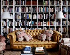 The chesterfield sofa is a classic English couch that is traditionally made with brown leather, quilted buttons, and a low base. It's also as comfortable as hell. It looks good in a variety of decorating styles.  Because of its timeless look, it can mix well with a classic study room or blend well with modern furnishings.  Good design matches with good design, period.