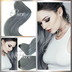 """1b/Grey Natural Black / Gunmetal Grey- Short Root Fade Balayage / Ombre 22"""" Tape  #Rootedhairextensions #rootshadow #besttapehairextensionssuppliers    #hair #blackrootssilverhair #darkrootgrey #coolblonde #virginhairzippay #lightashbrowntapehairextensions #afterpaytapehairextensions #afterpayhair #lightblondetogreyhairextensions #blondehair Virgin Remy Hair, Remy Human Hair, Balayage Ombre, Best Ombre Hair, Silver Blonde, Fresh Hair, Tape In Hair Extensions, Salon Style, Bleached Hair"""