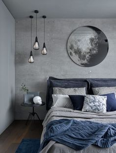 a chic grey and navy bedding set plus a blue rug enliven the grey bedroom Home . a chic grey and navy bedding set plus a blue rug enliven the grey bedroom Home Decoraiton a chic grey and navy bedding set plus a blue rug enliven the grey bedroom Blue Bedroom Decor, Bedroom Colors, Home Bedroom, Modern Bedroom, Blue Gray Bedroom, Bedroom Neutral, Trendy Bedroom, Navy Blue Bedrooms, Grey Bedroom With Pop Of Color