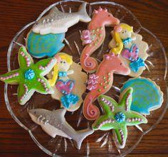 2 Dozen Deep Sea Themed Sugar Cookies - Mermaids - Starfish - Sharks - Shells…