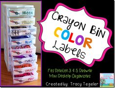 Back to School Organizing - Crayon bin color labels Crayon Organization, Back To School Organization, Classroom Organisation, Classroom Management, Class Management, Behavior Management, Classroom Labels, School Classroom, Classroom Decor
