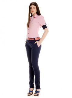 camisa social listrada vermelha feminina manga curta vana look completo