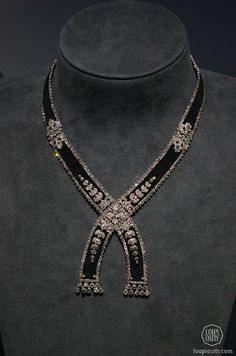 Cartier, Necklace, 1908, platinum, diamonds, silk @GrandPalais Antique Jewelry...