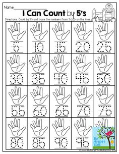 by and TONS of other helpful printables! Math Classroom, Kindergarten Activities, Teaching Math, Math Work, Fun Math, Maths, Counting In 5s, Skip Counting Activities, Math Sheets