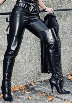 Thigh High Boots Heels, Heeled Boots, High Heels, Leather Trousers, Leather Boots, Sexy Boots, Black Boots, Girl Costumes, Thigh Highs