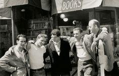 Bob Donlin, Neal Cassady, Allen Ginsberrg, Robert LaVigne, Lawrence Ferlinghetti in front of City Lights Books in San Francisco, 1955