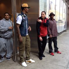 Knicks players jr smith mike bibby and baron Davis . I ran into them comin outta the bank in times square
