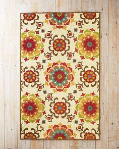Suzani Floral Hooked Indoor-Outdoor Rug