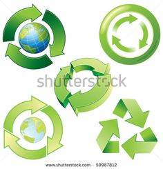 Vector stylized recycling icons
