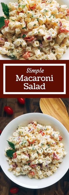 This Simple Macaroni Salad is simple to make a a crowd pleaser! A perfect side for your summer BBQ | Three Olives Branch