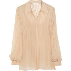 Chloé Pleated silk-mousseline blouse