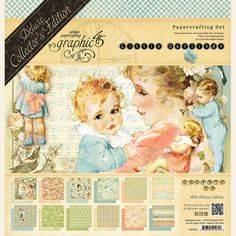 Graphic 45 Little Darlings (Baby) Deluxe Collector's Edition Pack Vintage School. Graphic 45, Graphic Design, Panduro Hobby, Papel Scrapbook, Baby Scrapbook, Travel Album, Mini Album Tutorial, Pastel Paper, Holding Baby