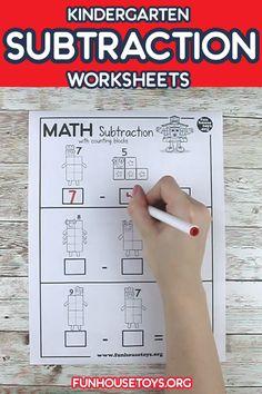 Preschool Activity Books, Kindergarten Writing Activities, Kindergarten Homeschool Curriculum, Free Kindergarten Worksheets, Printable Math Worksheets, Preschool Lesson Plans, Preschool Printables, Math Subtraction Worksheets, Subtraction Kindergarten