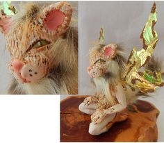 Cassia Anthropomorphic Cat OOAK Fairy Fairies Art Doll Fantasy Feline NEW Brown #Handmade