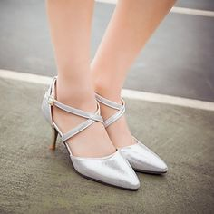 Women's Shoes Leatherette Stiletto Heel Heels Heels Wedding / Office & Career / Party & Evening Pink / Silver / Gold 4923932 2017 – $50.04
