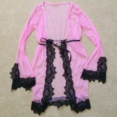 NIP Pink Lace Nighty New in package pink with black lace sheer nighty coverup with ribbon tie and free matching g-string. Blue Door Intimates & Sleepwear Robes