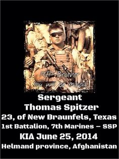 Please honor this Marine killed in Afghanistan and keep his loved ones in your thoughts and prayers.