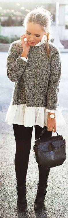 Grey And White Oversize Peplum Sweater