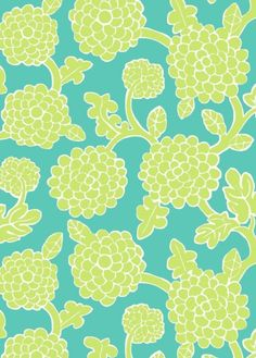 Nikko Wallpaper A printed wallpaper featuring stylised grapevines in green on a turquoise background.