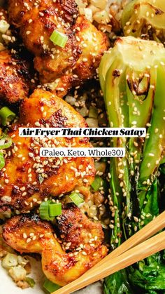 Paleo Meal Prep, Whole30 Dinner Recipes, Paleo Recipes Easy, Whole 30 Recipes, Asian Recipes, Gluten Free Recipes, Low Carb Recipes, Brownies Keto, Thai Chicken Satay