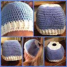 The Perfect Stitch...: UNC Tarheels Messy Bun Hat
