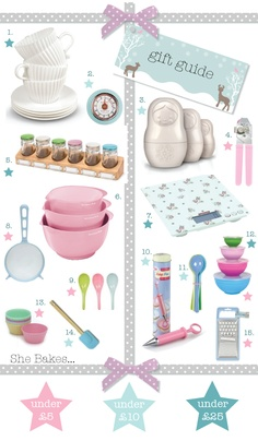 perfect stylish yet practical gifts for bakers, all in candy colours!