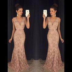Elegant Mermaid V Neck Long Lace Prom Dresses, PM0106