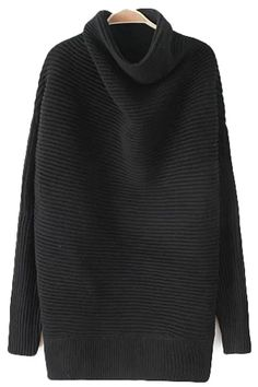 Ribbed Boat Turtleneck Sweater