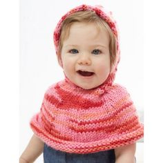 Poncho A Go-Go! - Patterns | Yarnspirations ~ use baby chunky yarn ~ warm little poncho for your toddler ~ it's easy & FREE - KNIT