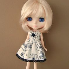 White and Black Floral Dress for Blythe by myfairdolly on Etsy, $14.00