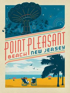New Jersey: Point Pleasant Beach - This happy print of the New Jersey Shoreline is sure to brighten any home or office wall. Celebrate the playful charm of Point Pleasant by decorating with this classic design.<br /> <br />