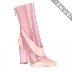 Rhianne Lace up ankle boots in Pink perspex