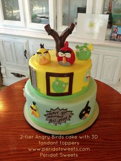 2-tier Angry Birds cake with 3D fondant toppers www.peridotsweets.com @peridotsweets