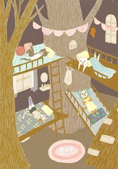 作品-閨中密友/畫廊-灰塵魚/個人插畫工作室