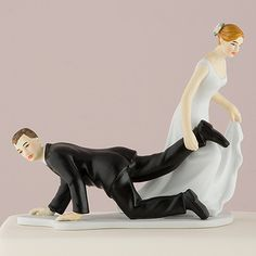 "Comical Couple With The Bride ""Having The Upper Hand"" Cake Topper - LoveStruck Weddings"