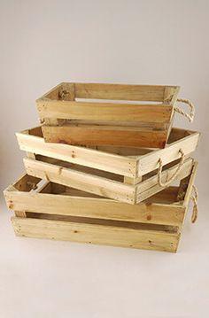 Set of 3 Rope Handle Wood Slate Trays