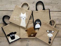 Cute & Funny Peekaboo Animal Shopping Bags - Jute Hessian Burlap Medium Tote Shoppers - Reusable Bag for Life - Unique Yellowboots Design Fabric Crafts, Sewing Crafts, Sewing Projects, Jute Shopping Bags, Alpaca My Bags, Eco Friendly Bags, Jute Bags, Hessian Bags, Fabric Bags