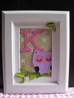 framed 3D owl monogram for baby girl