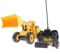 Wish | 4 channel digger truck wireless control engineer truck toy (Color: Yellow)