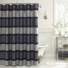 Bring a contemporary vibe to your bathroom decor with the Jardin Stripe Fabric Shower Curtain in Navy. Boasting a bold and modern stripe design, this polyester shower curtain is an easy way to add a touch of color to your bathroom decor. Navy Shower Curtain, Bathroom Curtains, Fabric Shower Curtains, Shower Curtain, Curtains, Guest Bathrooms, Mold In Bathroom, Bathrooms Remodel, Bathroom Decor