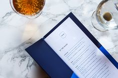 A division of UnderConsideration, cataloguing the underrated creativity of menus from around the world. Restaurant Menu Design, Restaurant Bar, Menu Layout, Print Finishes, Division, Layout Design, Creativity, Blue, Art