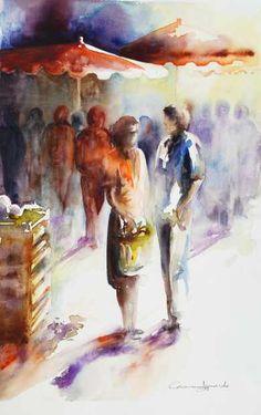 :: Accueil :: Galeries :: IZQUIERDO Corinne Watercolor Projects, Watercolor Canvas, Watercolor Portraits, Watercolor Paintings, Watercolors, Art Painting Gallery, Modern Art Paintings, Painting People, Figure Painting