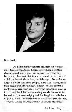 from Chris' funeral :,( A copy of A Clown's Prayer in which Chris carried a copy in his wallet