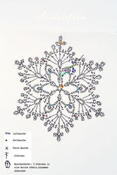 seidenfeins Blog vom schönen Landleben: Häkeln: neue Schneeflocken * crochet : new snowflakes Crochet Snowflake Pattern, Crochet Triangle, Crochet Stars, Crochet Motifs, Crochet Snowflakes, Crochet Doilies, Crochet Flowers, Crochet Stitches, Crochet Patterns